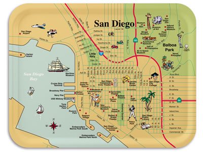 Downtown San Diego map tray