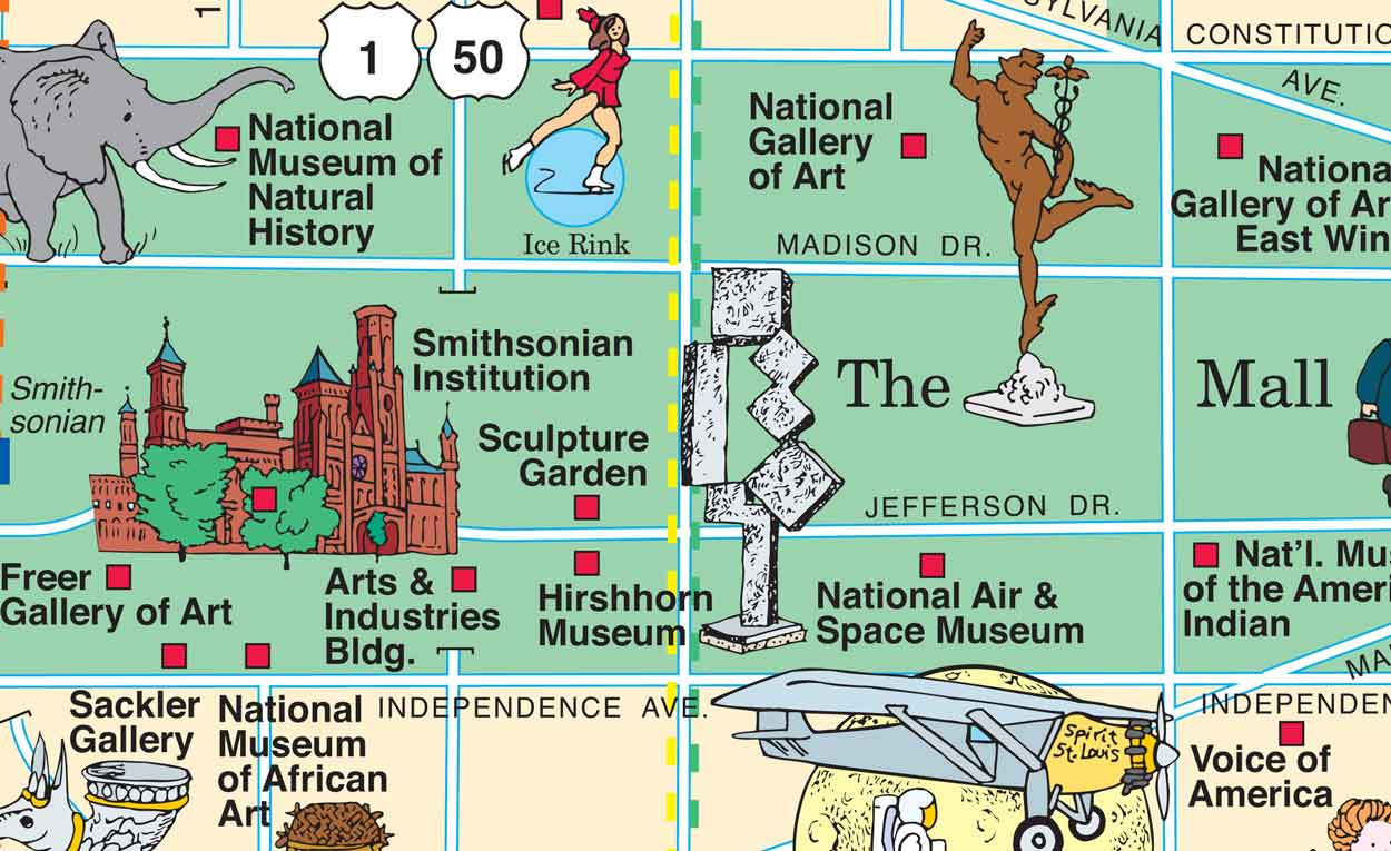 section of the pictorial washington dc map around the national mall. washington dc map