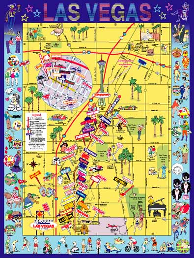Las Vegas Strip And Downtown Map  MAP