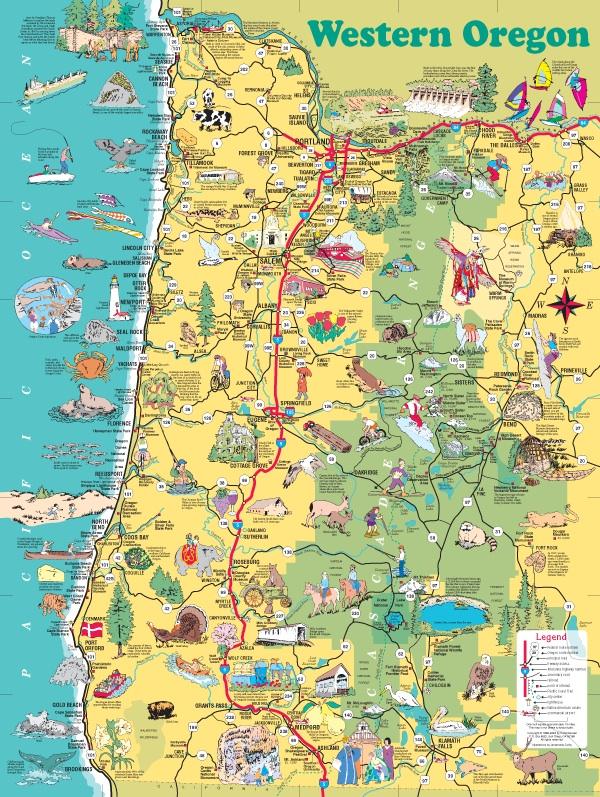 illustrated maps of Portland and Oregon