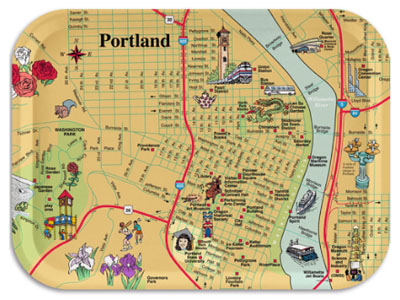 Map of downtown Portland, with pictorial illustrations