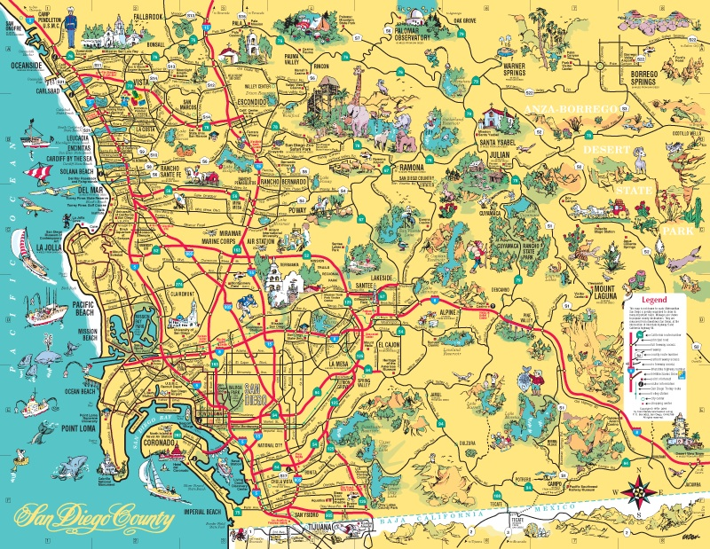 pictorial, illustrated maps of the San Diego area