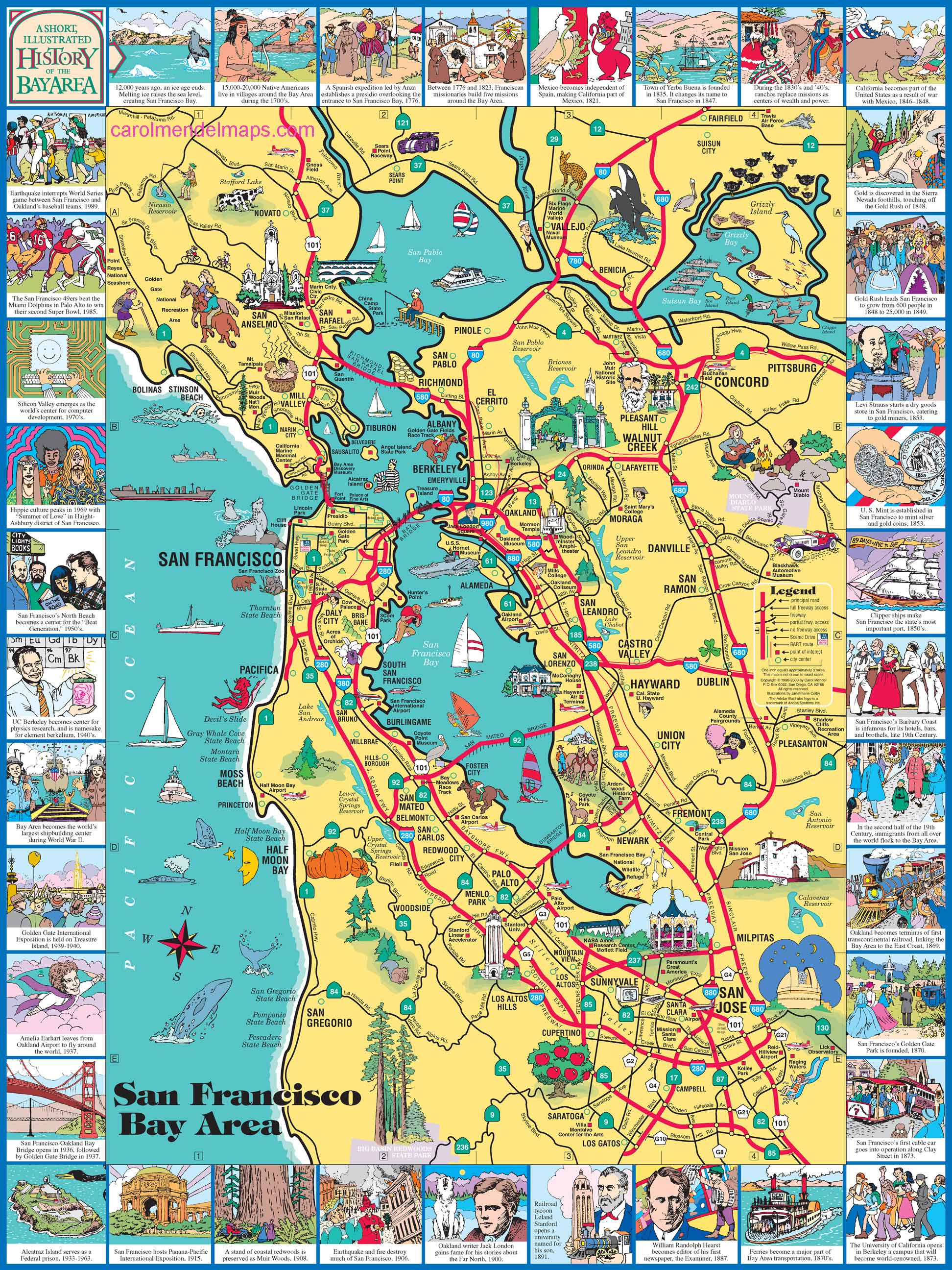 a clickable pictorial map of the San Francisco Bay Area