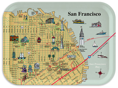 Map of Downtown San Francisco with pictorial illustrations